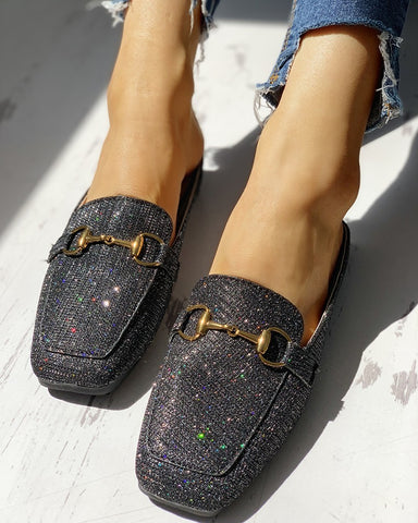 Glitter Metallic Embellished Casual Flat Shoes