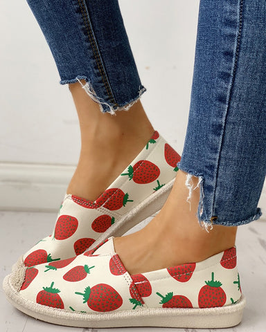 Fruit Print Flat Casual Shoes