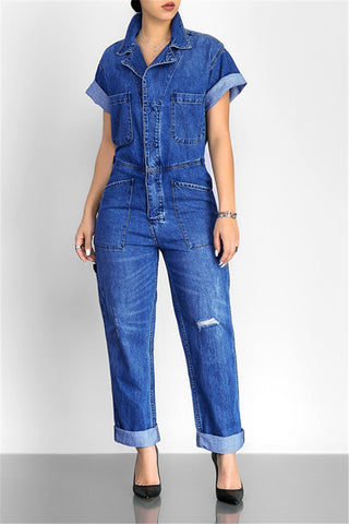 Lapel Short Sleeve Pocket Casual Denim Jumpsuit