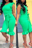 Ruffled Solid Color Sleeveless Belted Jumpsuit