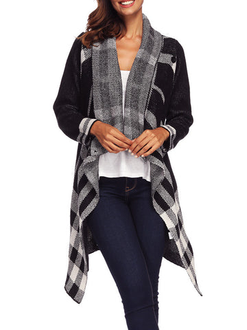Irregular Plaid Long Sleeve Coat