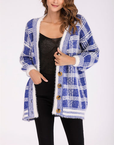 Long Sleeve Lattice Button Knitted Coat