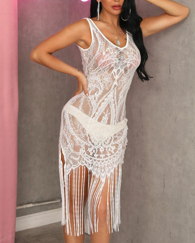 Tassels Design Sheer Lace Dress