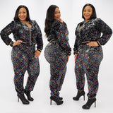 Sequin Silver Wire Front Zipper Two-Piece Set