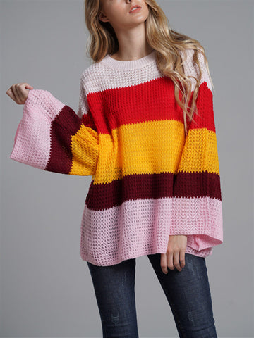 Loose Bell Sleeve Stripe Rainbow Sweater