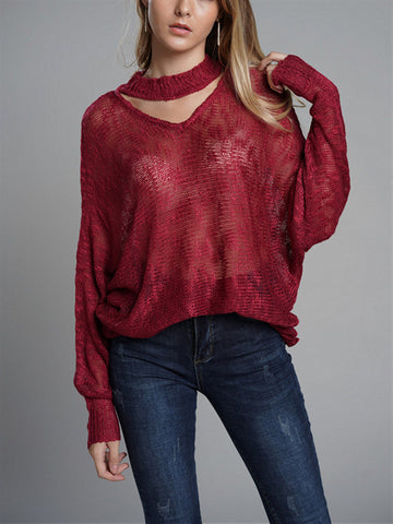 Solid Color Long Sleeve Hollow Sweater