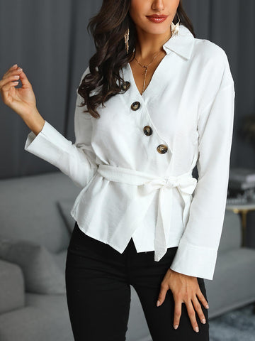 Button Detail Wrap Belted Blouse