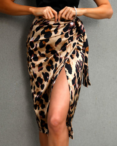 High Waist Leopard Print Knotted Skirts