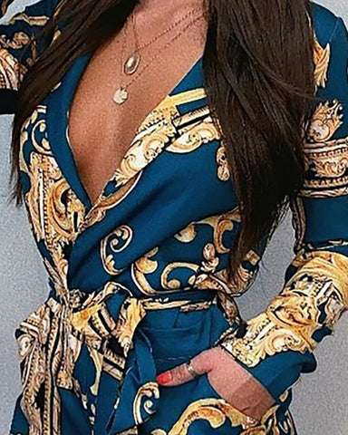 Long Sleeve Mixed Print Tied Romper
