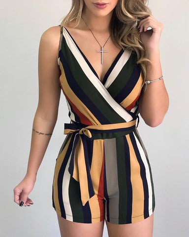 Colorblock Striped Sleeveless Tied Romper