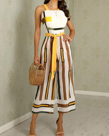 Contrast Striped Backless Wide Leg Jumpsuit