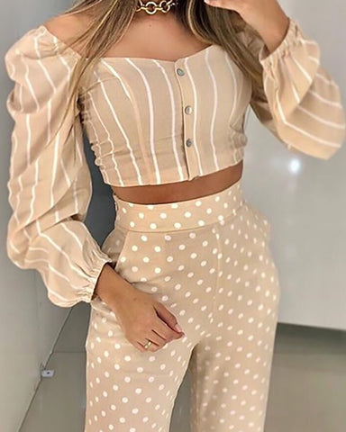 Puffed Sleeve Striped Top & Dot Print Pant Sets