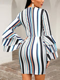 Contrast Stripes Layered Sleeve Bodycon Dress