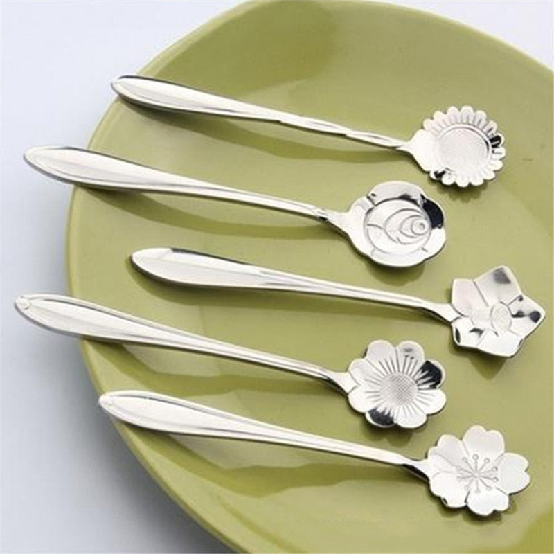 5PCS/Set  Flower Shape Stainless Steel TeaSpoons