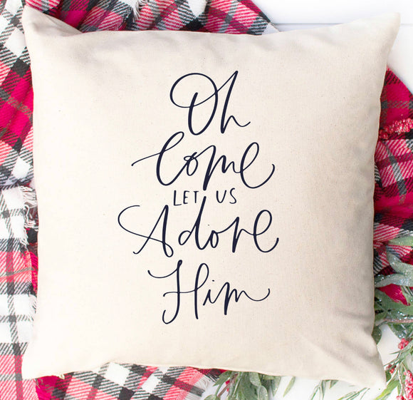 Let Us Adore Him Throw Pillow