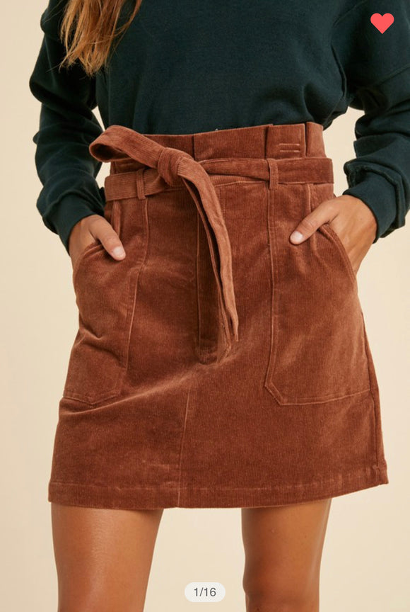 Belted Corduroy Skirt (more options)