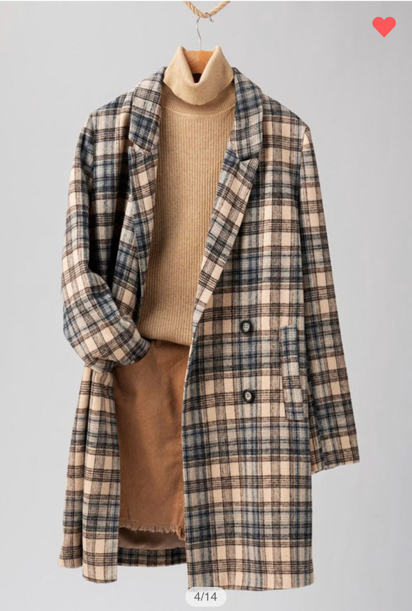 Plaid Long Coat Blazer