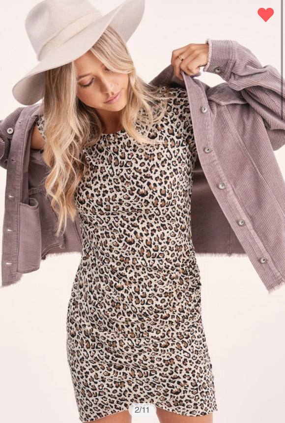 Leopard Ruched Dress