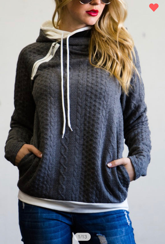 Cabled Double Hoodie