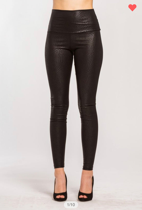 Viper Faux Leather Leggings
