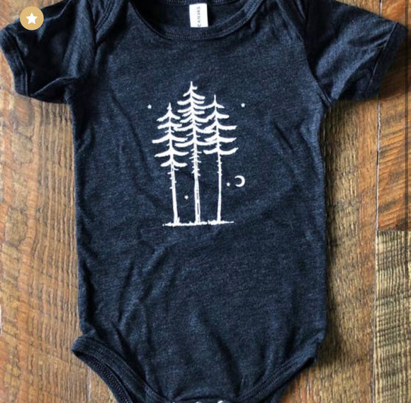Three Trees Baby Onesie