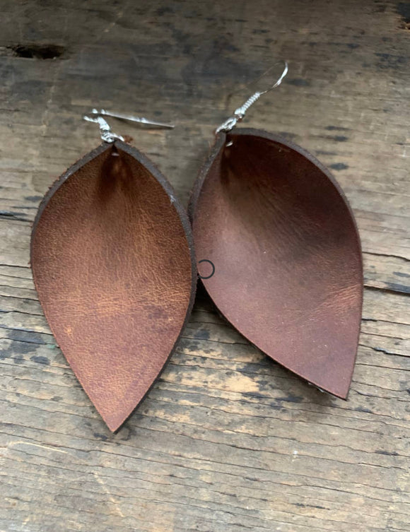 Brown Rustic Nubuck Leather Earrings (more options)