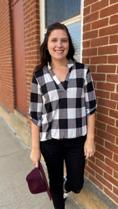 3/4 Sleeve Plaid Top (Queen Sizes, also!)