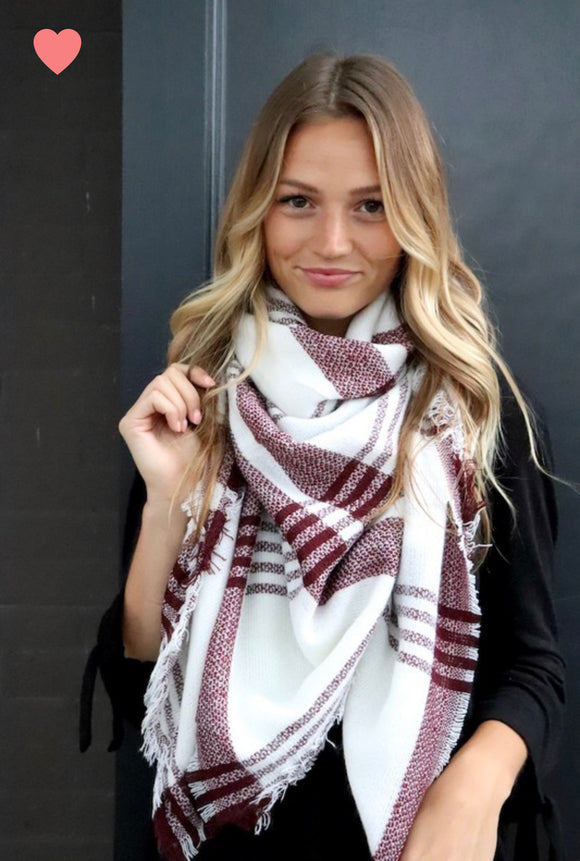 White + Maroon Plaid Scarf
