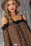 Cold Shoulder Leopard Print Top