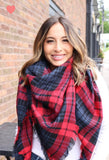 Red + Black Plaid Scarf