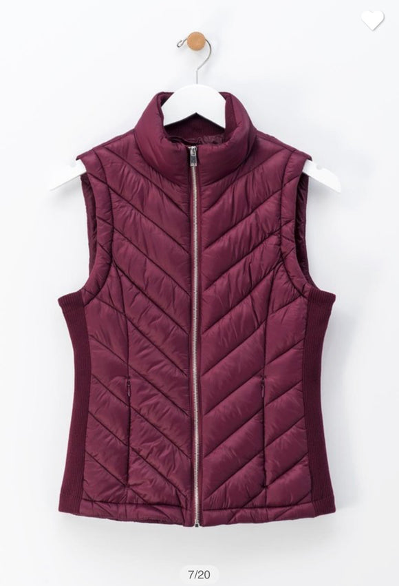 Puff Vest in Wine