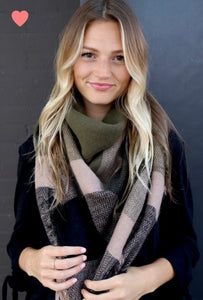 Olive + Black Checkered Scarf