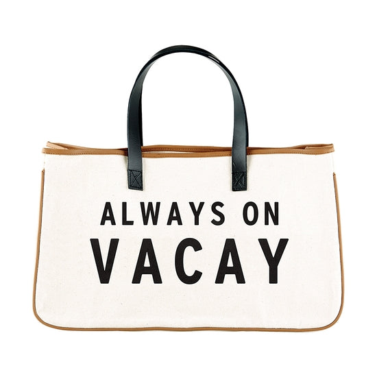 Always on Vacay Canvas Tote