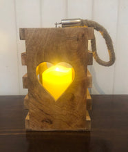 Load image into Gallery viewer, Wooden Lantern with Heart Cut Out
