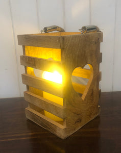 Wooden Lantern with Heart Cut Out