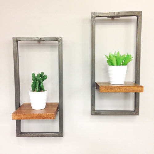 Industrial Style Wall Shelf - Set of 2