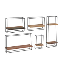 Load image into Gallery viewer, Set of 5 Metal & Wood Wall Shelves