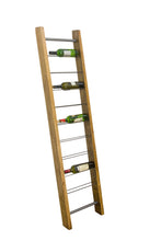 Load image into Gallery viewer, 9 Bottle Leaning Ladder Wine Rack