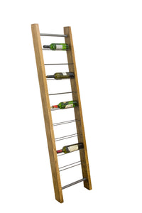 9 Bottle Leaning Ladder Wine Rack