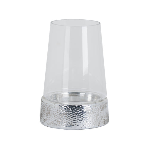 Silver Metallic Ceramic Cylindrical Hurricane Lantern