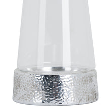 Load image into Gallery viewer, Silver Metallic Ceramic Cylindrical Hurricane Lantern