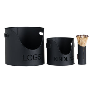 Logs & Kindling Buckets & Matchstick Holder in Black