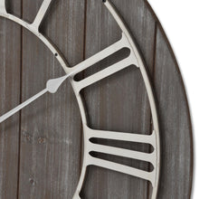 Load image into Gallery viewer, Wooden Clock with Contrasting Nickel Detail