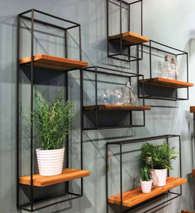 Set of 5 Metal & Wood Wall Shelves