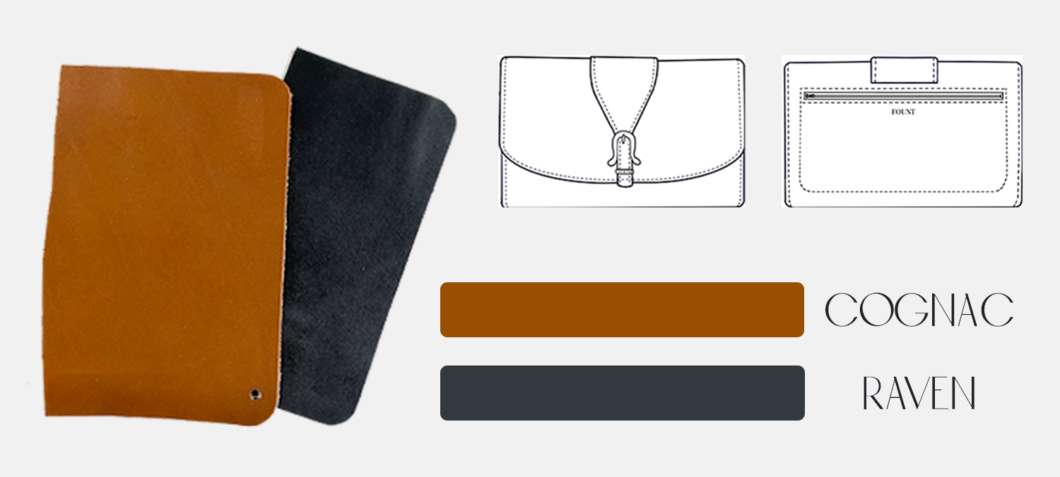 swatches of a brown cognac leather and a black raven leather with sketches of the pennington crossbody