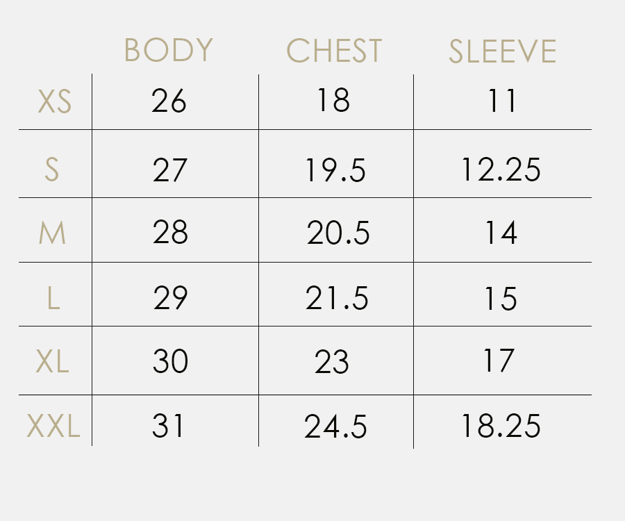 sizing guide for t-shirts