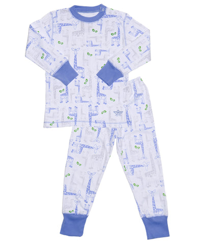 Pima Cotton PJs Blue Giraffes