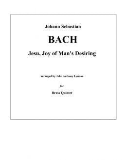Bach - Jesu, Joy of Man's Desiring for Brass Quintet