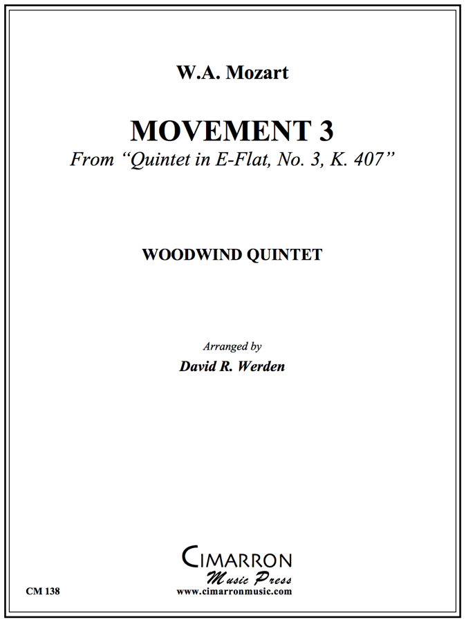 Mozart - Quintet in Eb, No. 3, K. 407 (Mvt. 3) - Woodwind Quintet