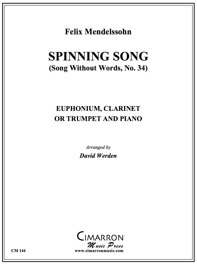 Mendelssohn - Spinning Song - for Clarinet or Trumpet or Euphonium and Piano
